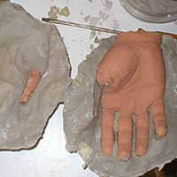 Body Parts: Making a Plaster Mold of the Clay Hand